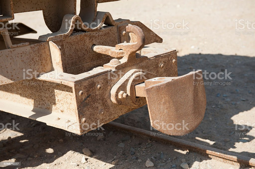 Closeup of old railway carriage coupling stock photo