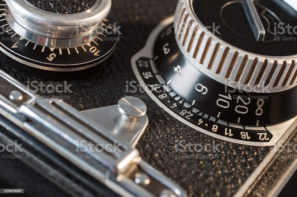 Closeup of old retro film camera stock photo