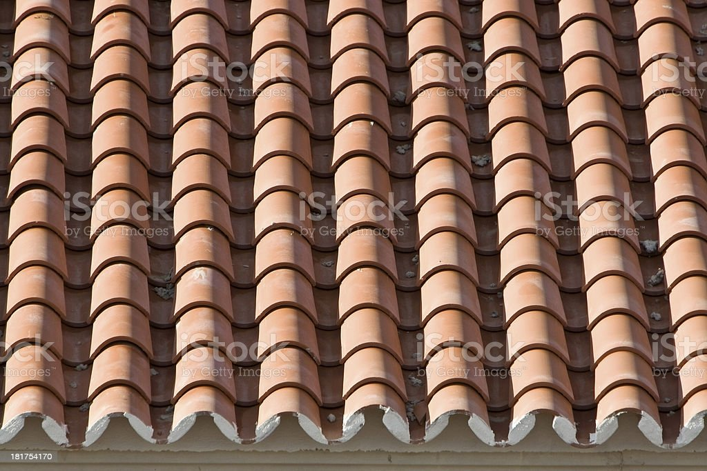 Closeup of old roof tiles, Spain royalty-free stock photo