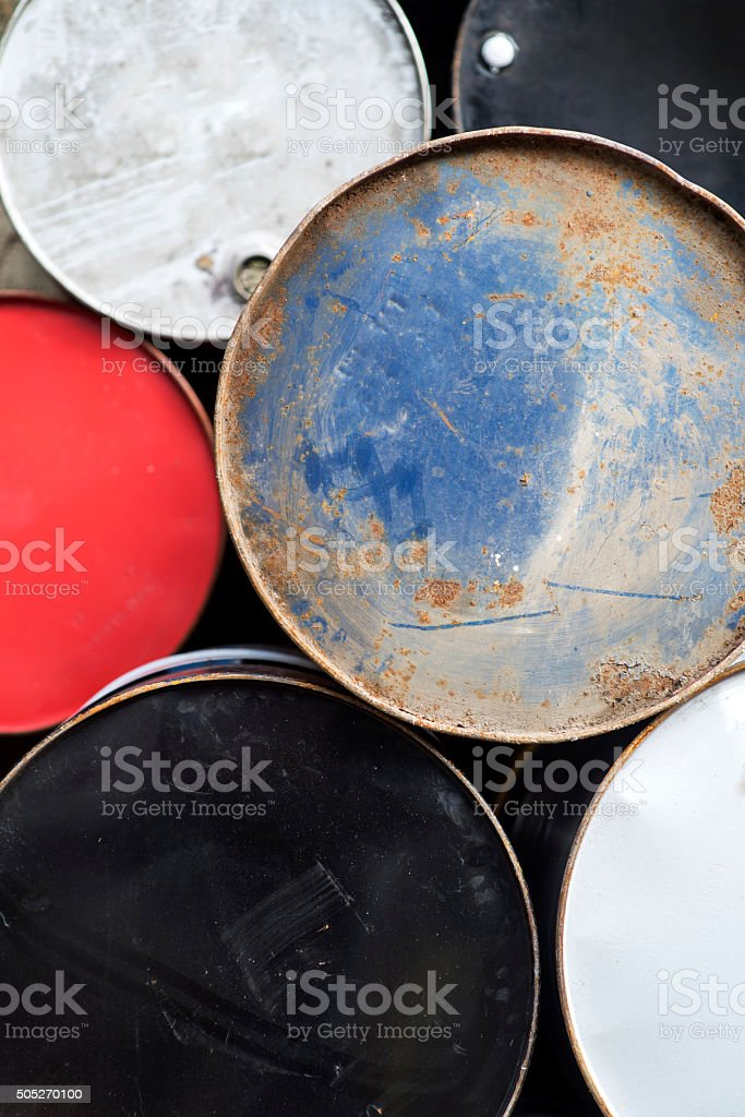 Closeup of old rusty barrels stock photo