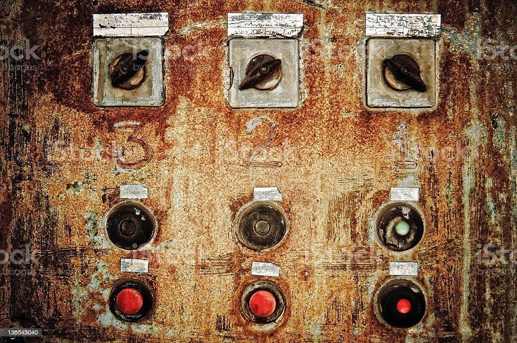 Closeup of old rusty control panel stock photo