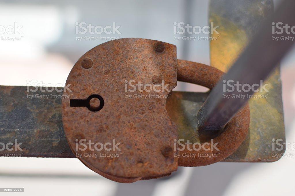 Closeup of old rusty padlock stock photo