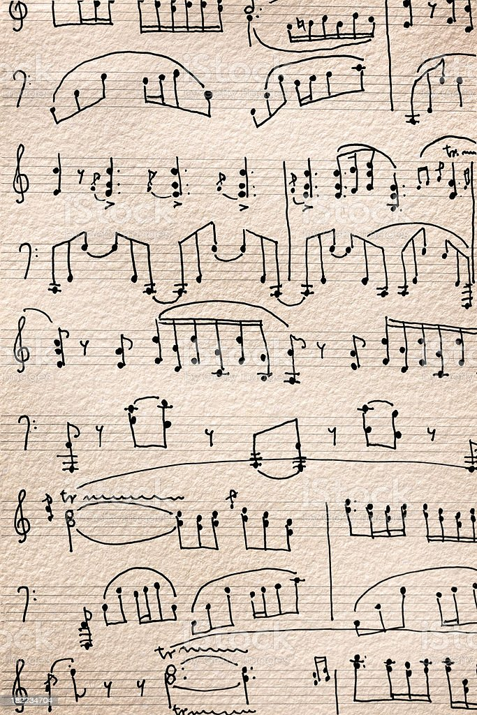 Close-up of old sheet music royalty-free stock photo