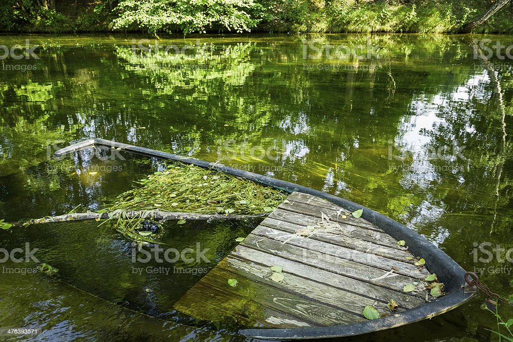 Closeup of old sunken boat on the river bank royalty-free stock photo