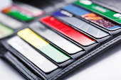 Close-up of open wallet with many credit cards in slots