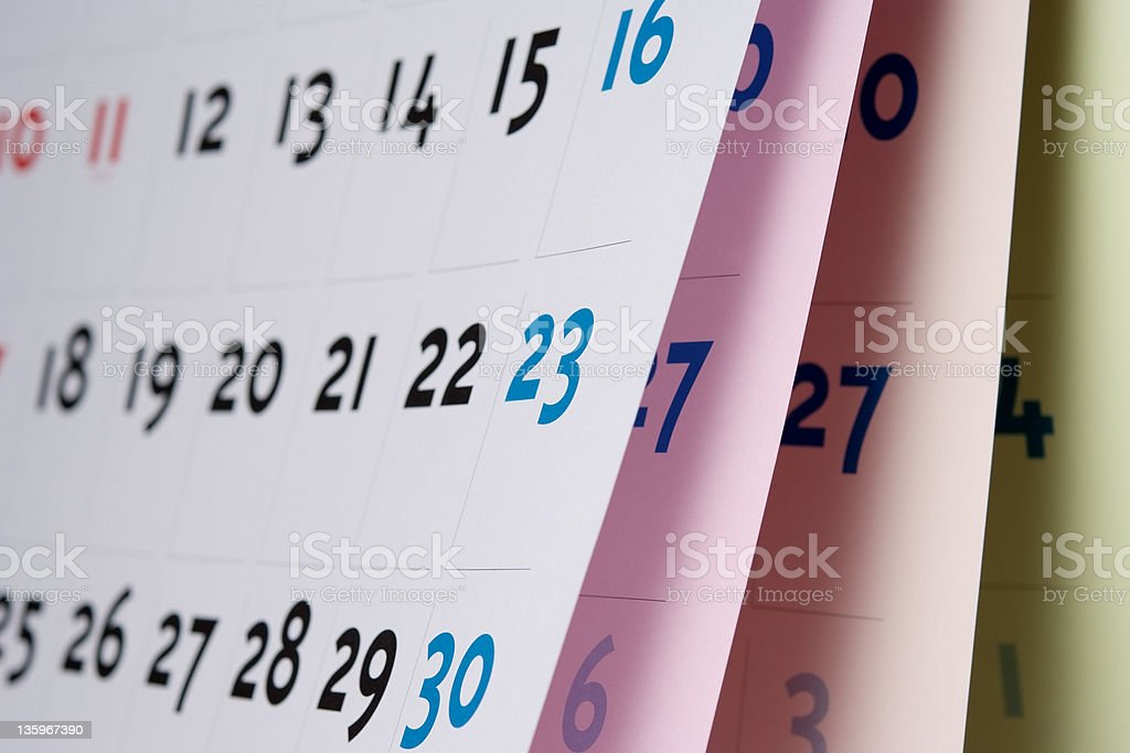 Close-up of opened blank calendar with shallow depth of field royalty-free stock photo