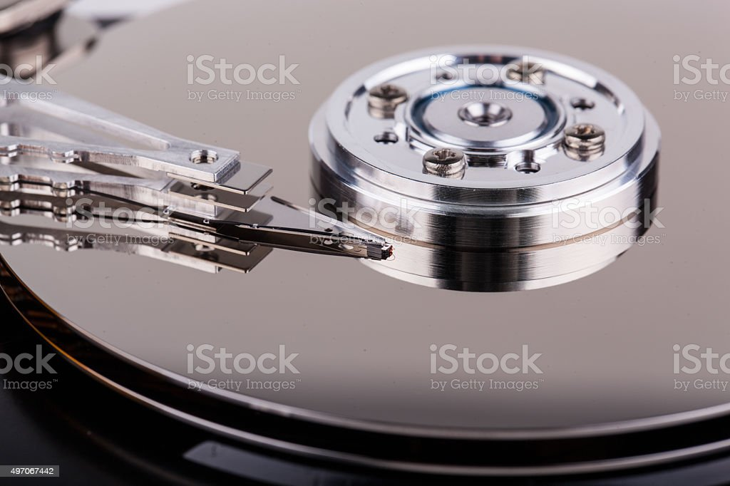 Closeup of opened computer hard drive stock photo