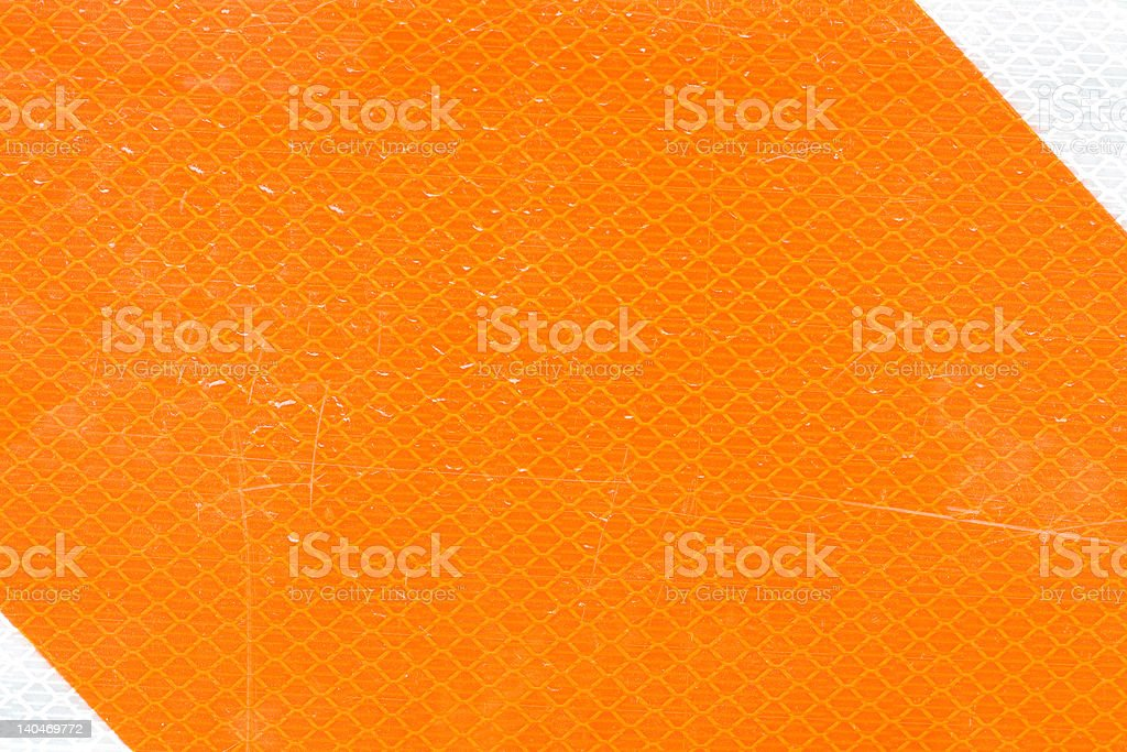 Closeup of Orange and White Construction Reflector royalty-free stock photo