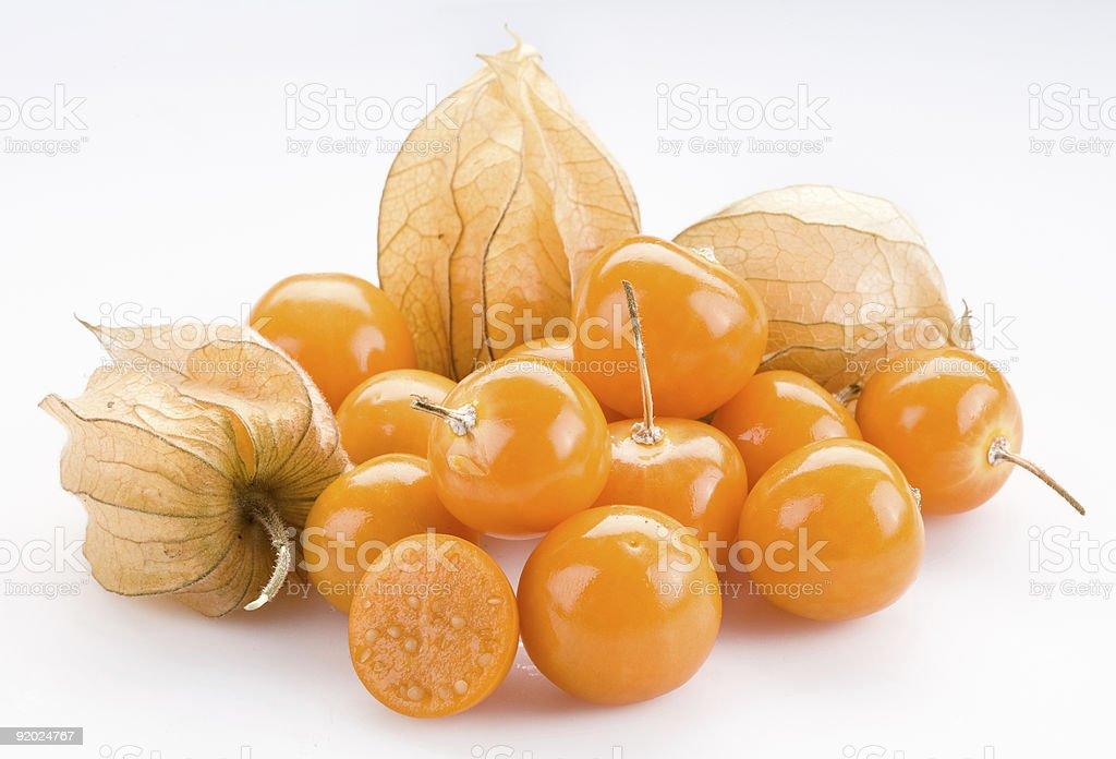 Closeup of orange physalis flowering plant  stock photo
