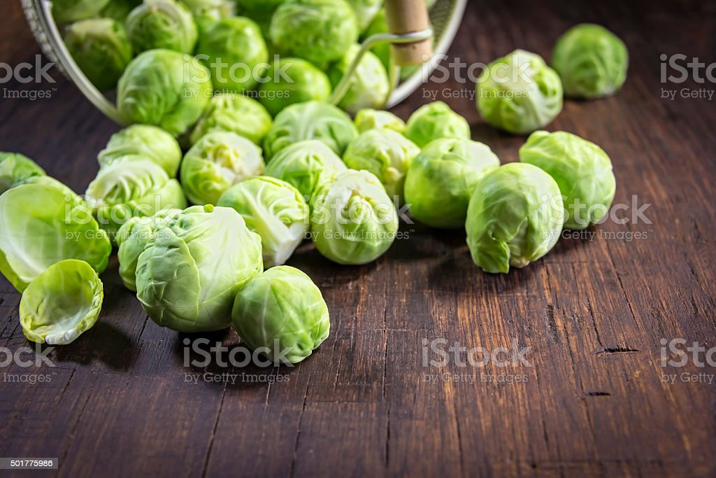 Close-up of organic brussels sprouts stock photo