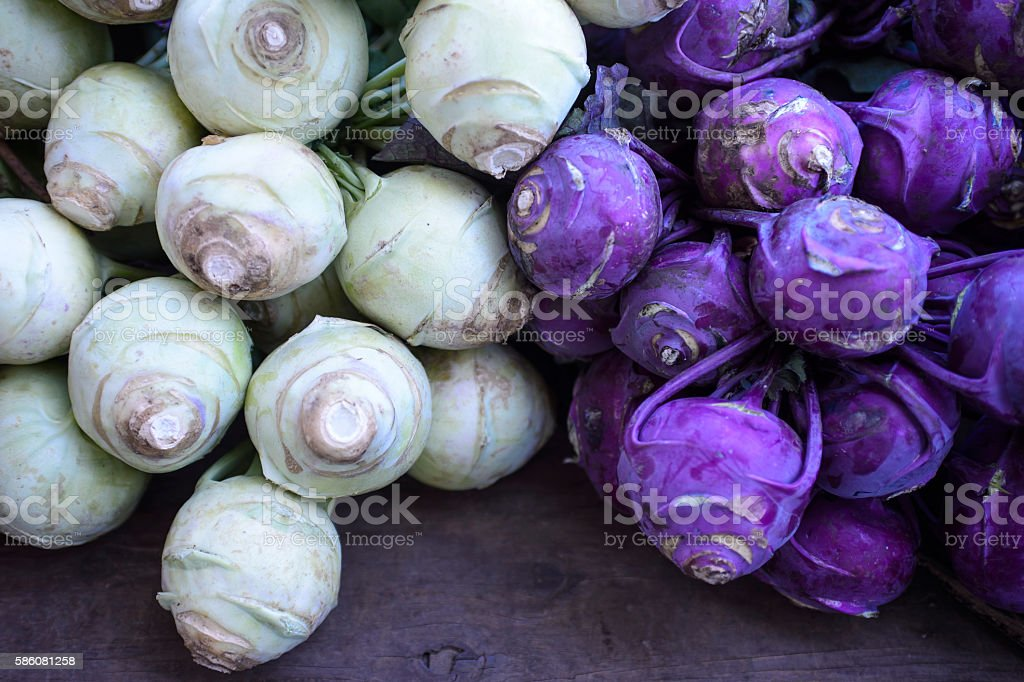 Close-up of Organic Kohlrabi at Farmer's Market stock photo