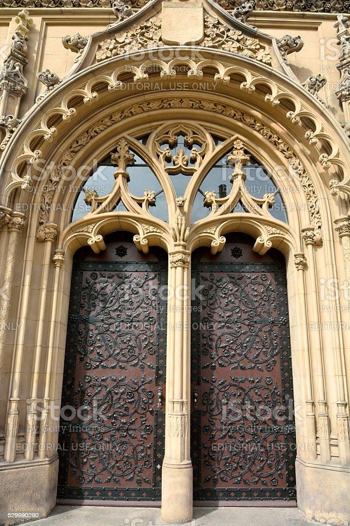 Closeup of ornate portal door of Amtsgericht Magdeburg in Magdeburg stock photo