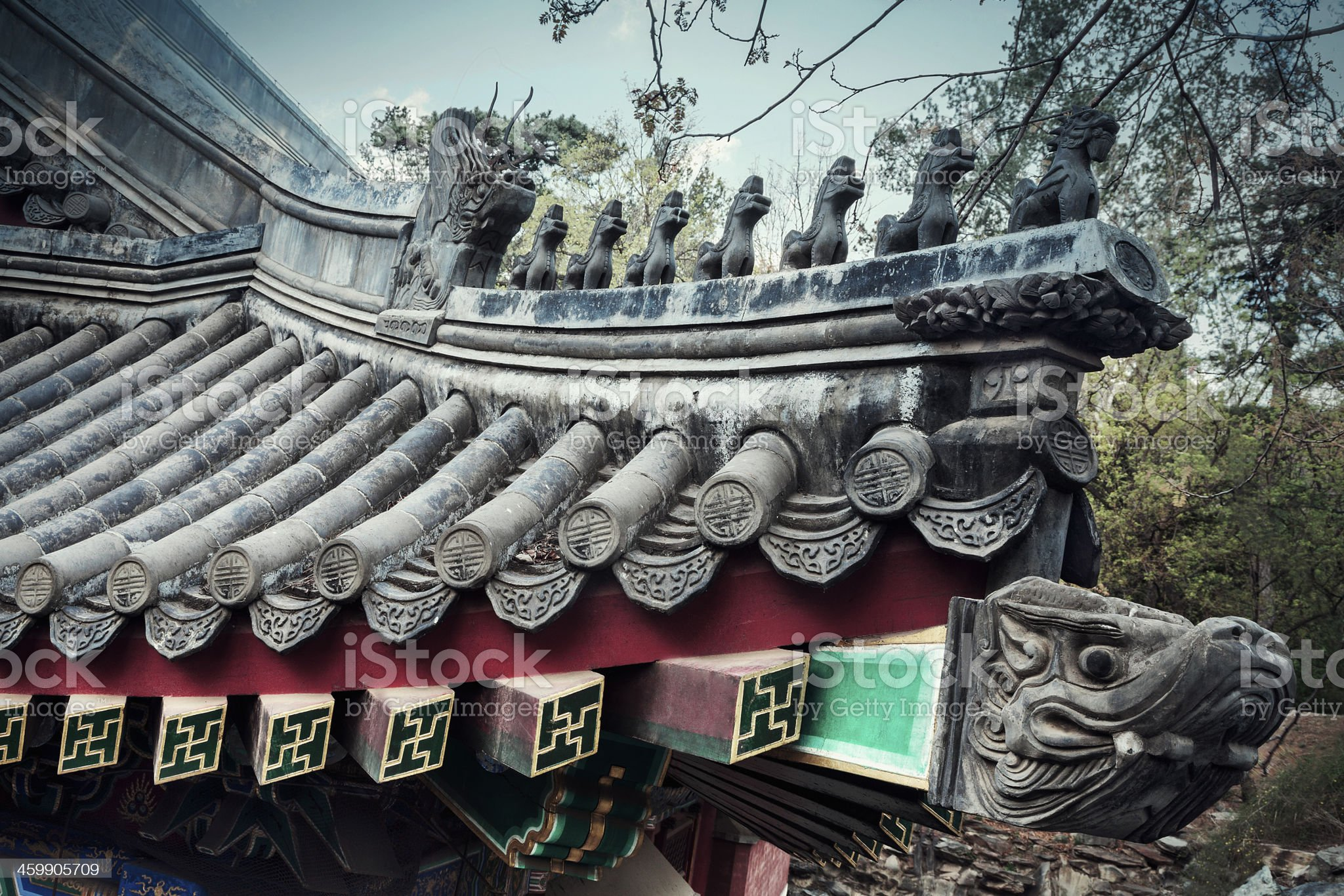 Close-up of ornate roof tiles on Chinese building. royalty-free stock photo