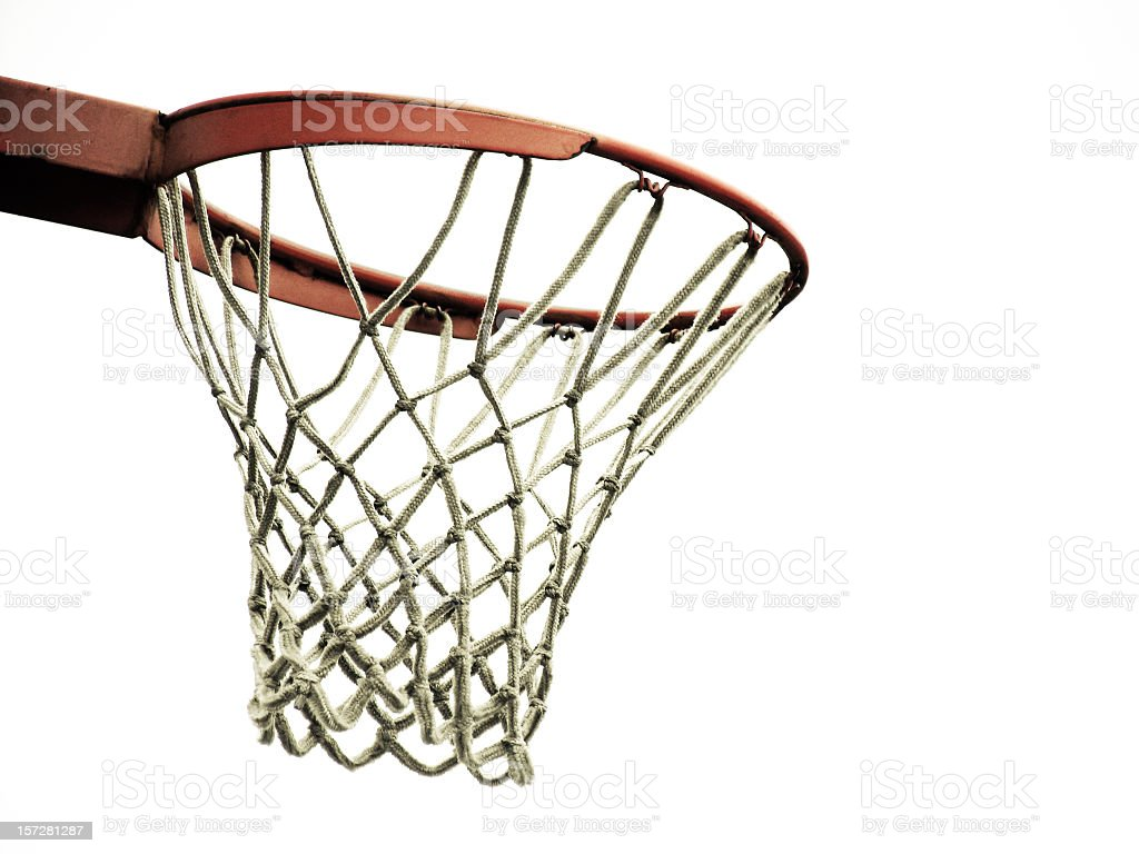 Close-up of outdoor basketball hoop and net stock photo