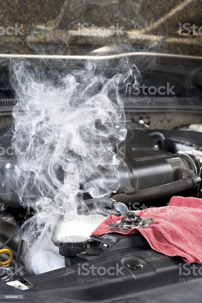 Close-up of overheated car engine stock photo