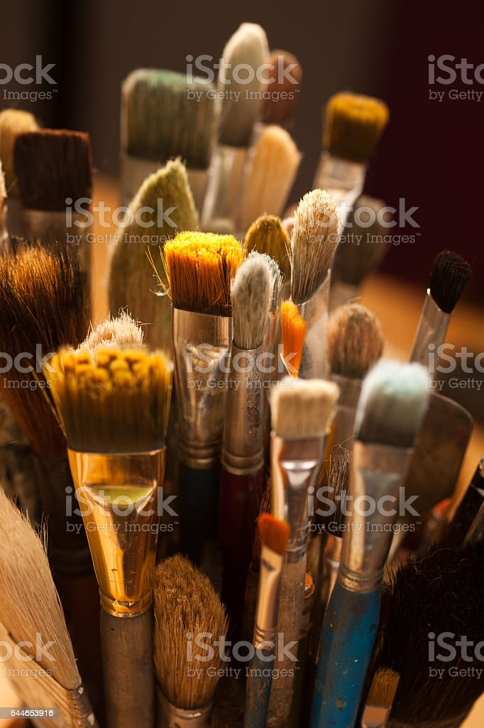 Closeup of painting brushe stock photo