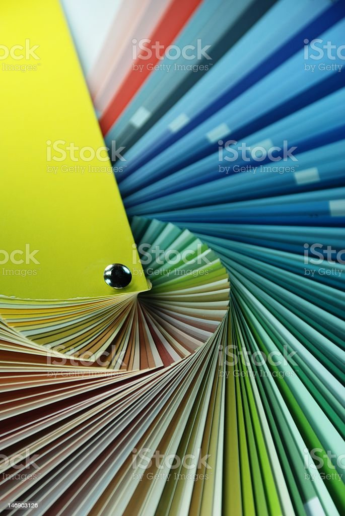 Close-up of palette with different shades of colors stock photo