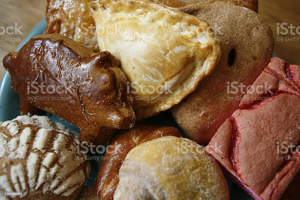 Close-up of pan Mexicano with different shapes in blue plate royalty-free stock photo