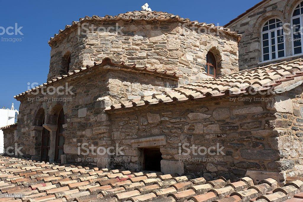 Close-up of Panagia Ekatontapyliani Church, Paros, Greece royalty-free stock photo