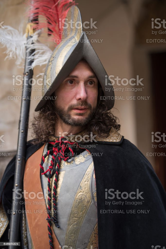 Close-up of participant the medieval costume party stock photo