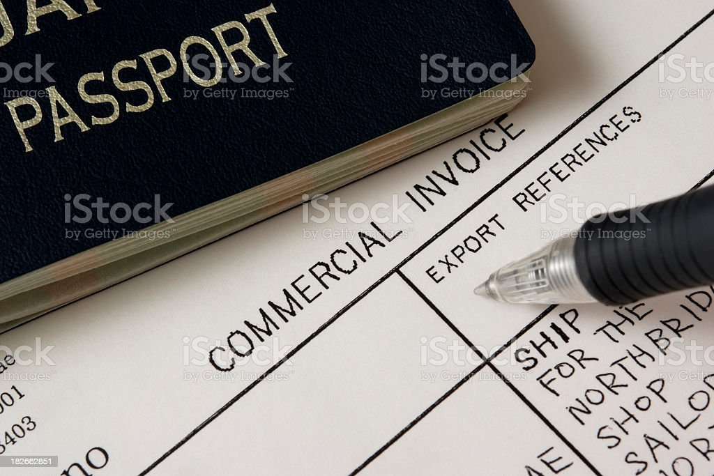 Close-up of Passport with Export Document royalty-free stock photo