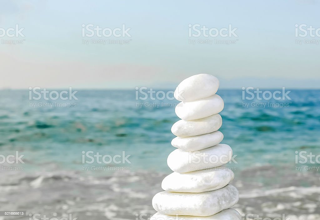 Close-up of pebbles stack stock photo
