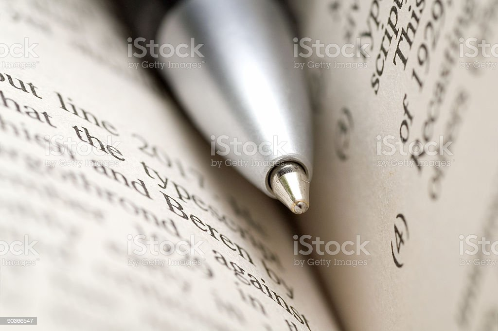 Close-up Of Pen And Book royalty-free stock photo