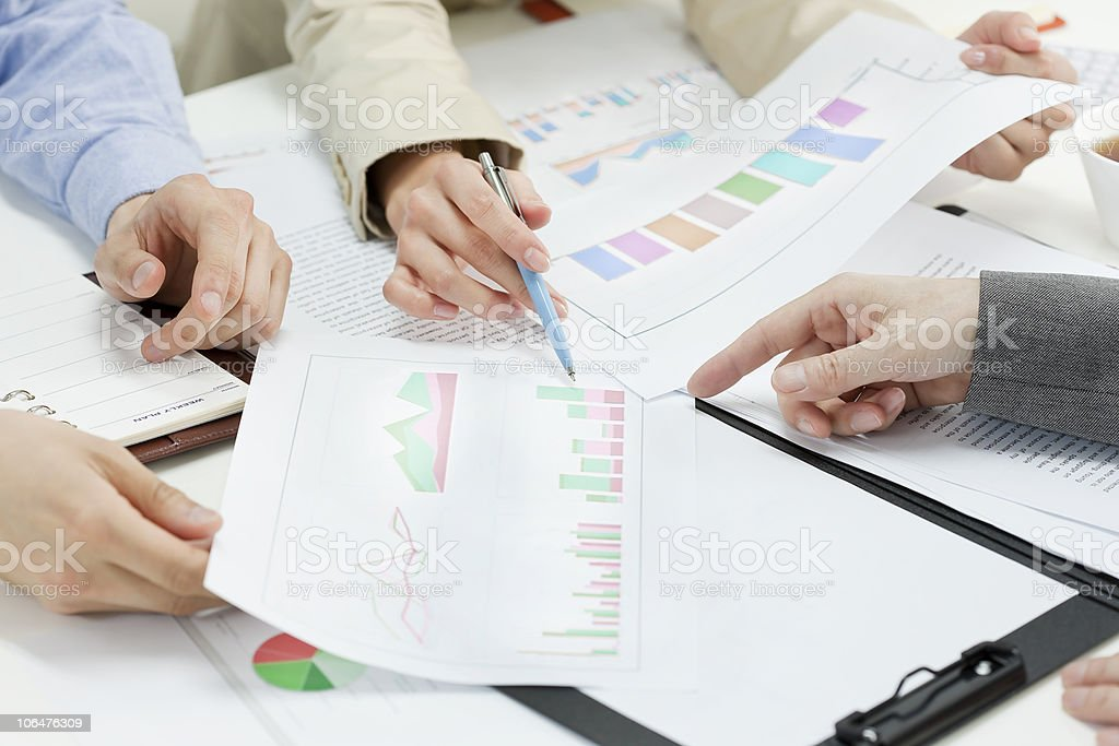 Close-up of people who hold a meeting royalty-free stock photo