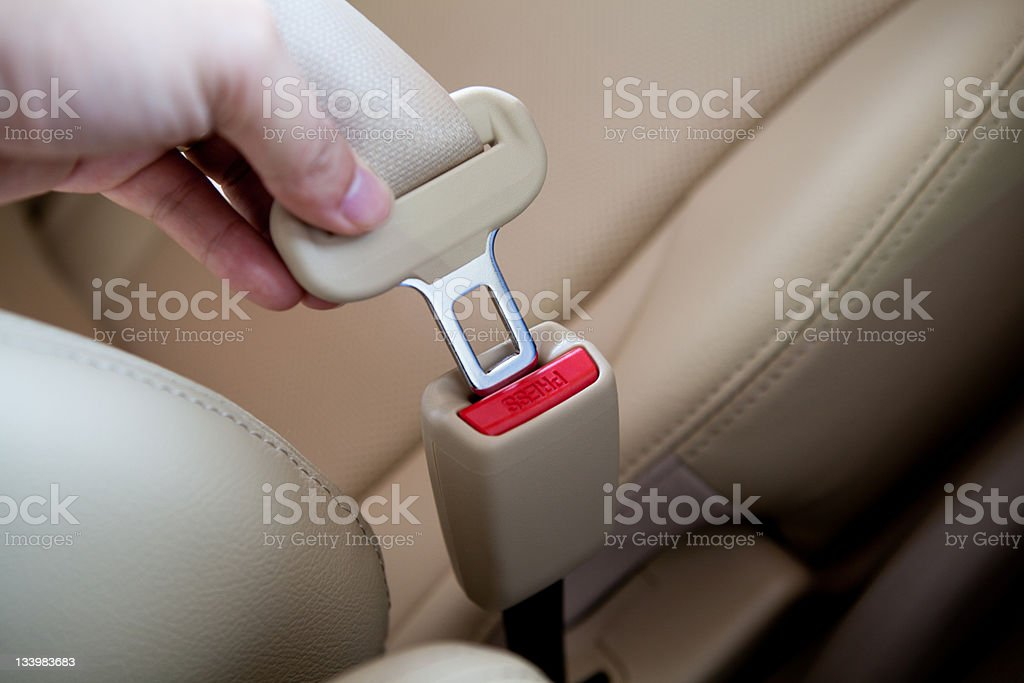 closeup of  person fastening a lap seat belt. stock photo