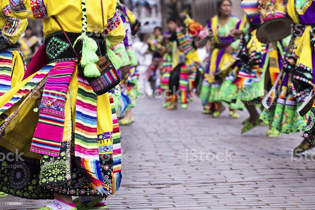 Close-up of Peruvian dancers at the parade in Cusco stock photo