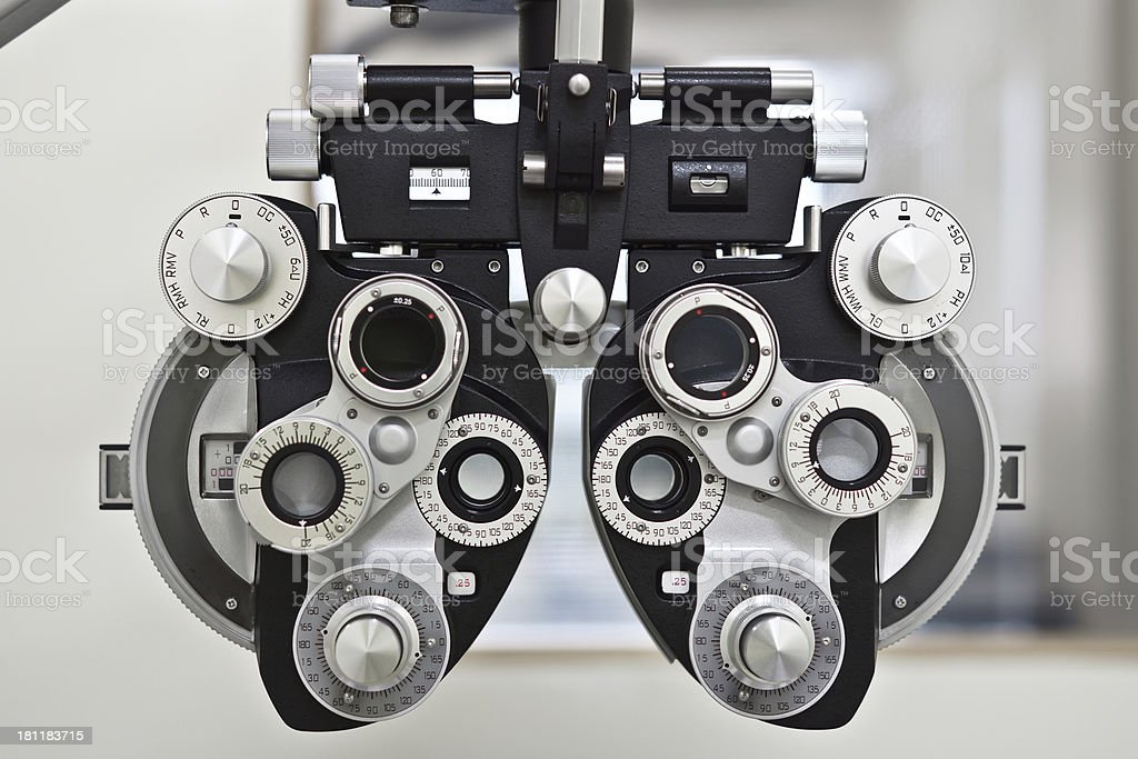 Close-up of phoropter for eye examination stock photo