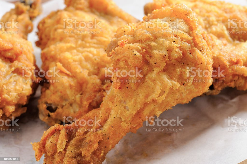 A close-up of pieces of fried chicken stock photo