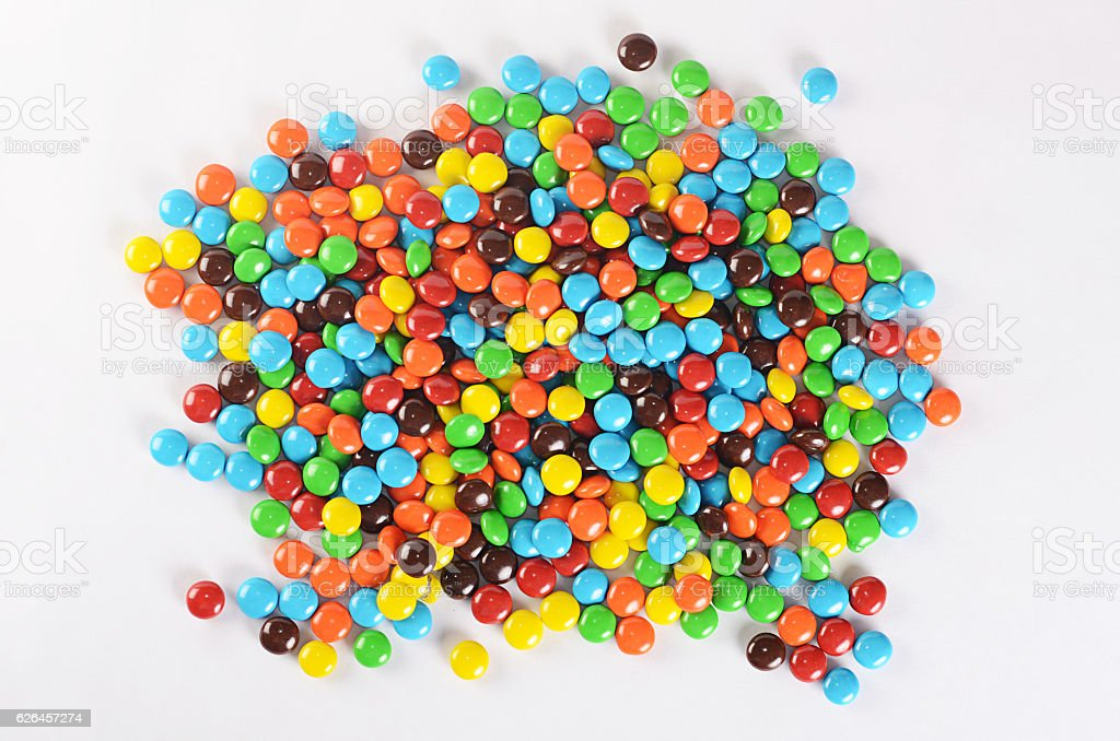 Closeup of pile colorful chocolate candies stock photo