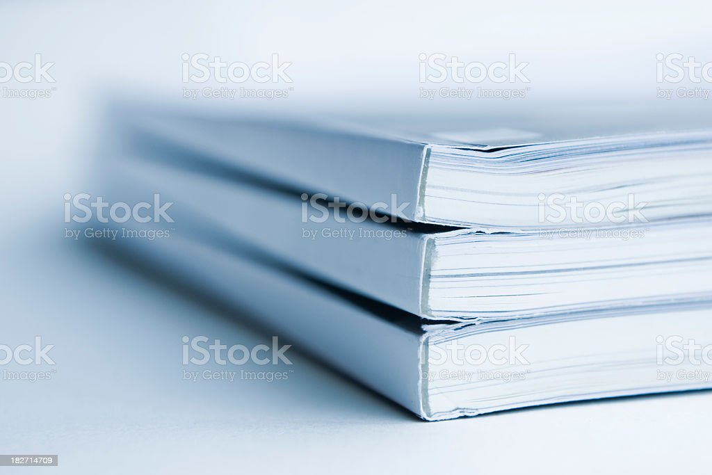 Close-up of piles of magazines royalty-free stock photo