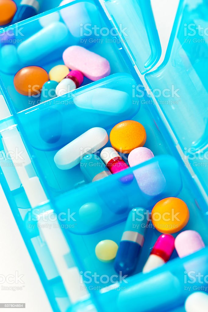 Close-up of Pillbox with Various Prescription Medication Drug stock photo