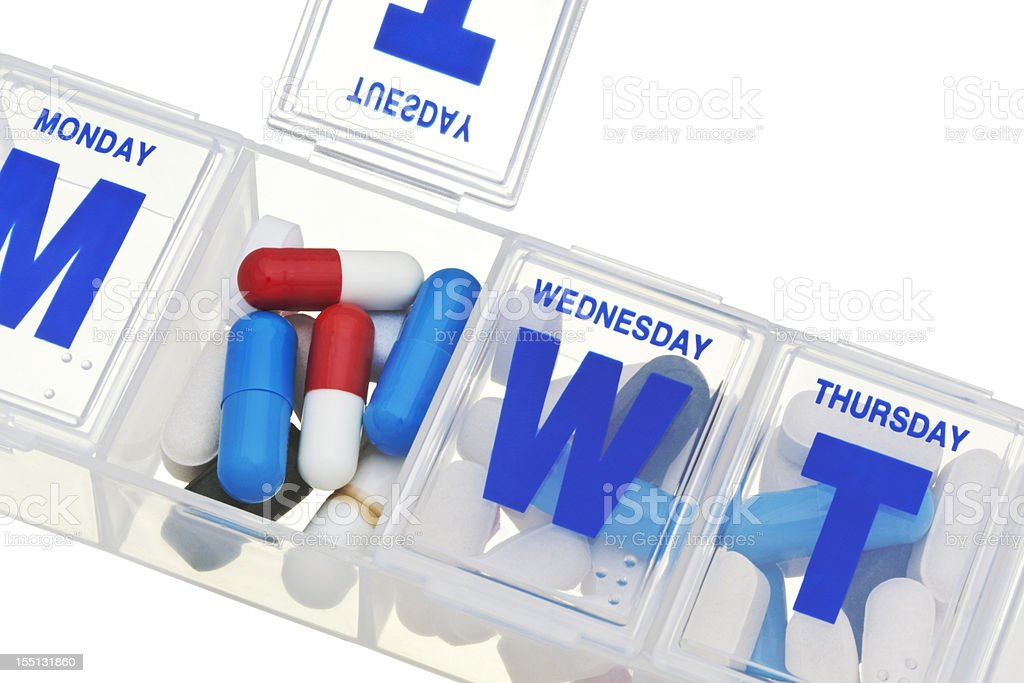 Close-Up of Pills and Capsules in Daily Medicine Holder royalty-free stock photo