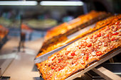 Close-up of pizza in display
