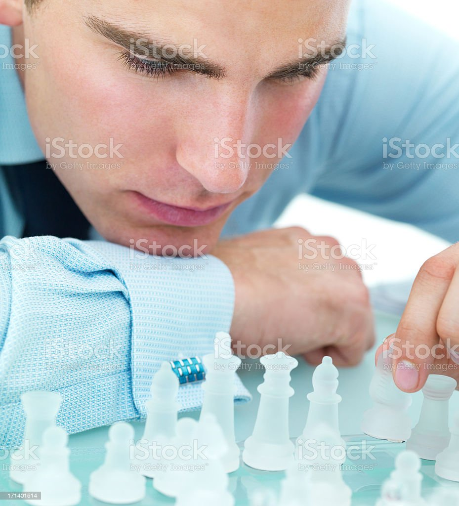 Closeup of playing chess royalty-free stock photo