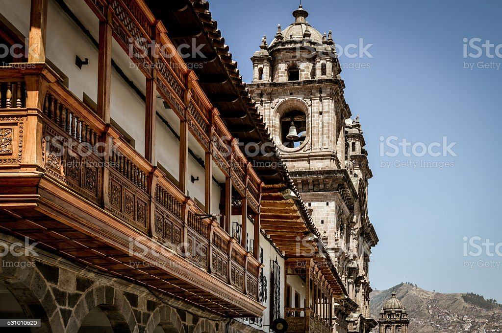 Closeup of Plaza de Armas in Cusco, Peru stock photo