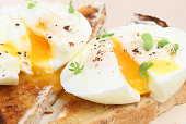 Close-up of poached eggs on toast