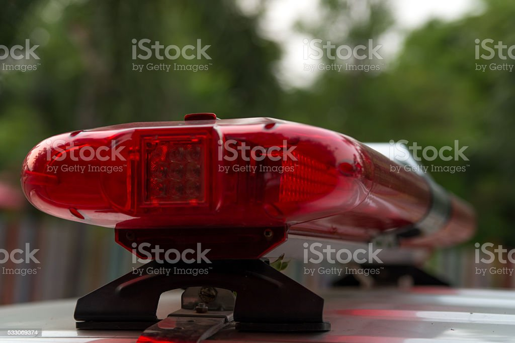 Closeup of police light bars stock photo