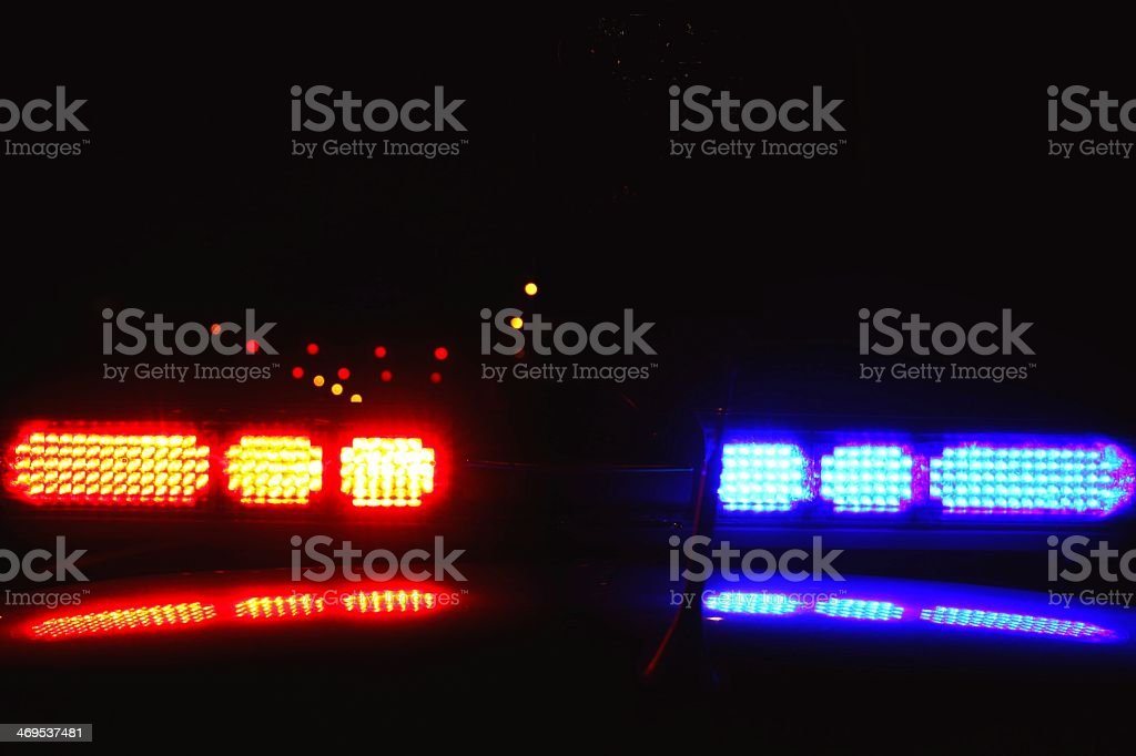 Closeup of police lights during the night stock photo