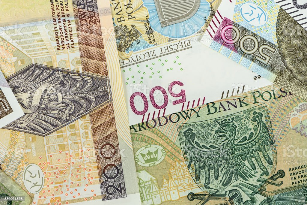 Closeup of polish zloty banknotes stock photo