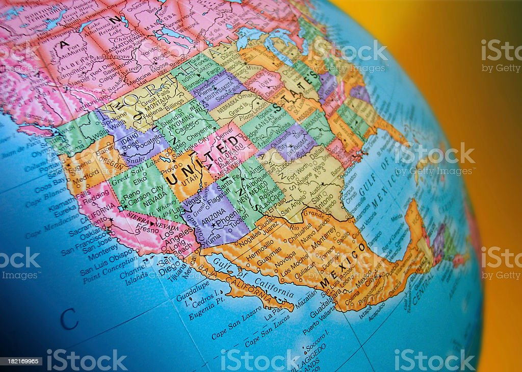 Closeup of Political Globe royalty-free stock photo