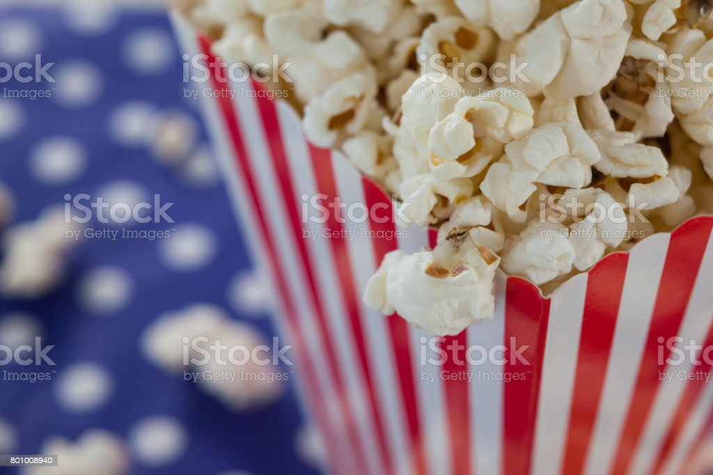 Close-up of popcorn with 4th july theme stock photo