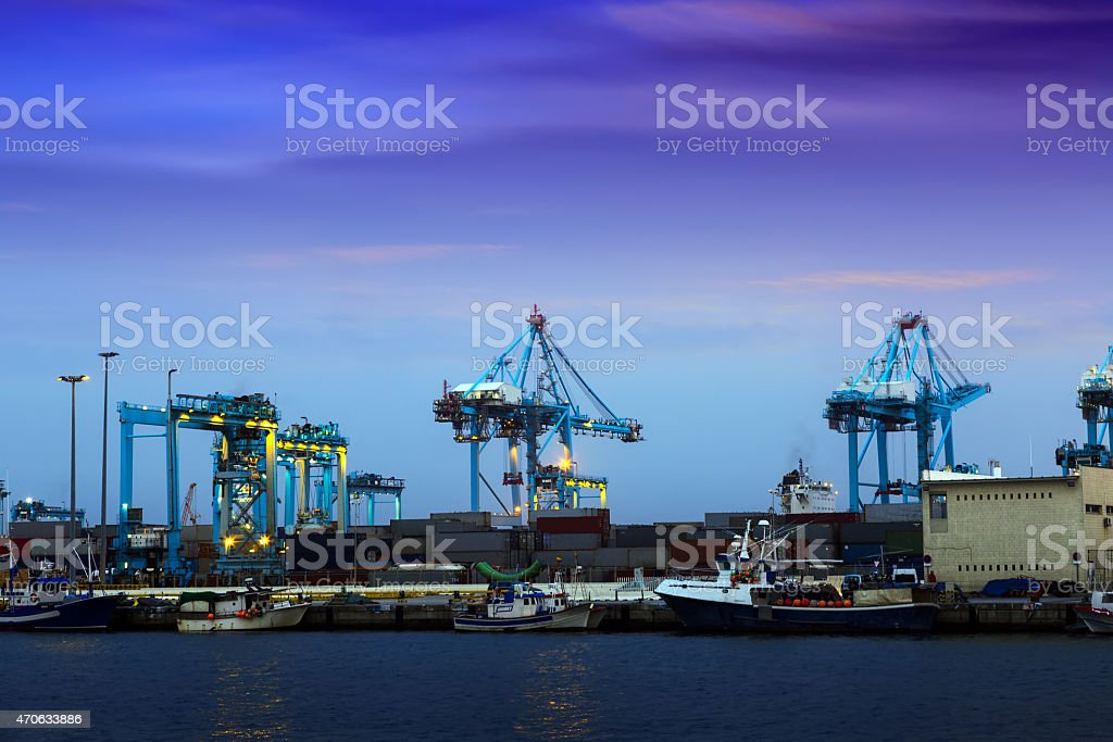 Closeup of Port in  twilight stock photo