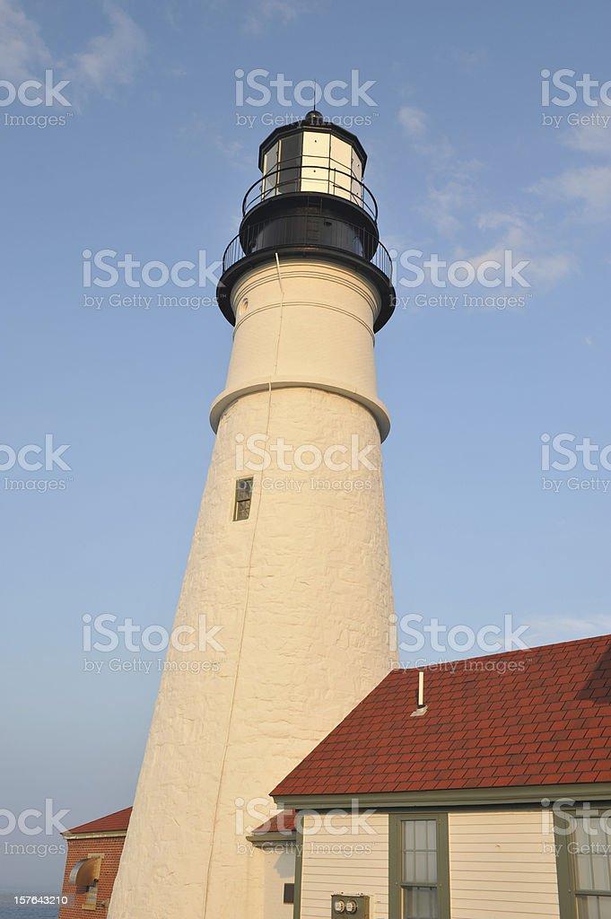 Closeup of Portland Head Light stock photo