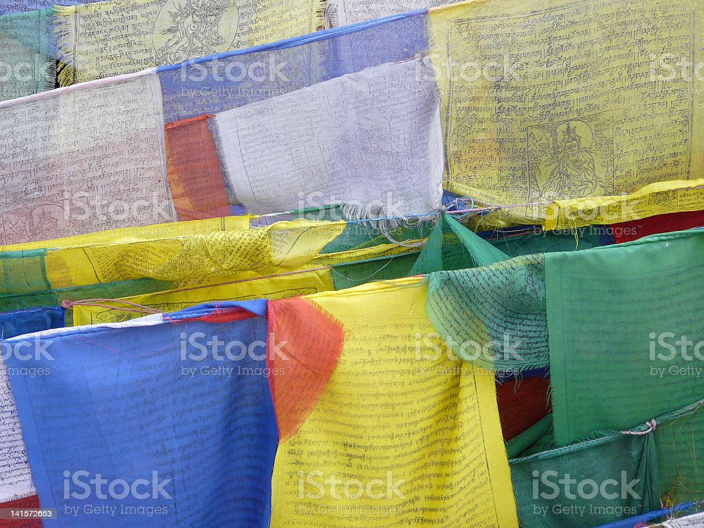 Close-up of prayer flags royalty-free stock photo