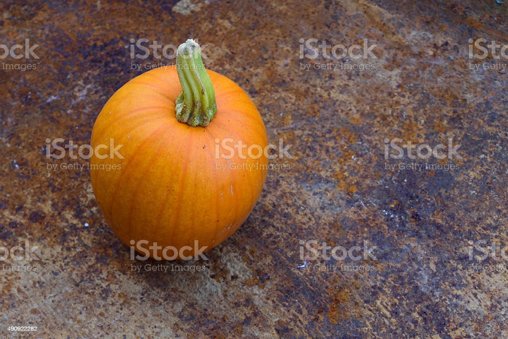 Closeup of Pumpkin in Old Wheelbarrow stock photo