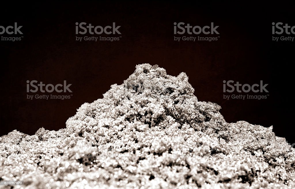 Closeup of pure silver crystals stock photo